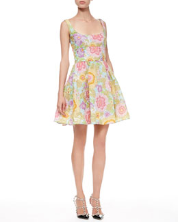 RED Valentino Full Pop-Flower Scoop Dress