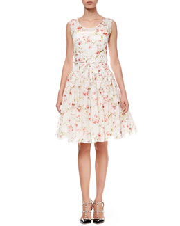 RED Valentino Sweet Pea Full-Skirt Dress