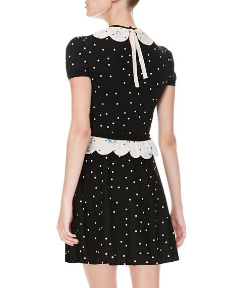 Rose-Scalloped Polka Dot Dress