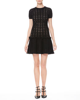 RED Valentino Laser Cut Drop-Waist Dress