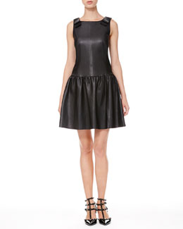 RED Valentino Leather Drop-Waist Bow Dress