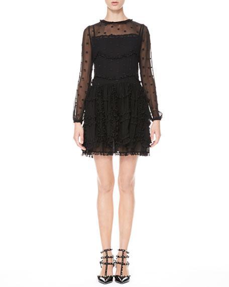 Long-Sleeve Dotted Ruffle Dress