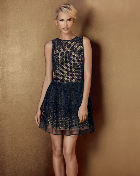 Embroidered Tiered-Skirt Dress