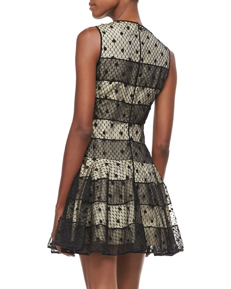 Mesh-Overlay Party Dress