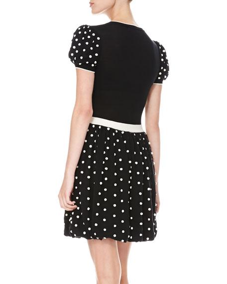 Polka Dot Bubble-Skirt Dress