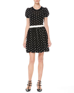 RED Valentino Polka Dot Bubble-Skirt Dress