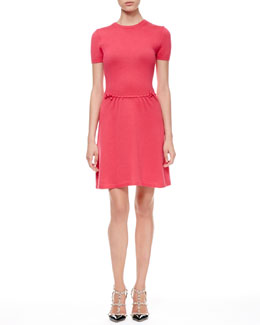 RED Valentino Short-Sleeve Bow-Waist Dress