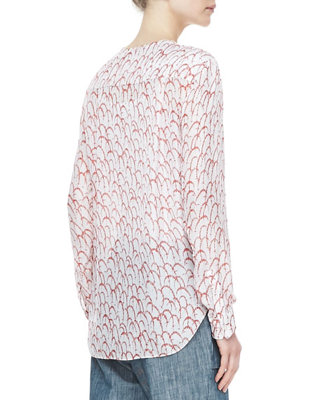 Printed Drape-Front Blouse