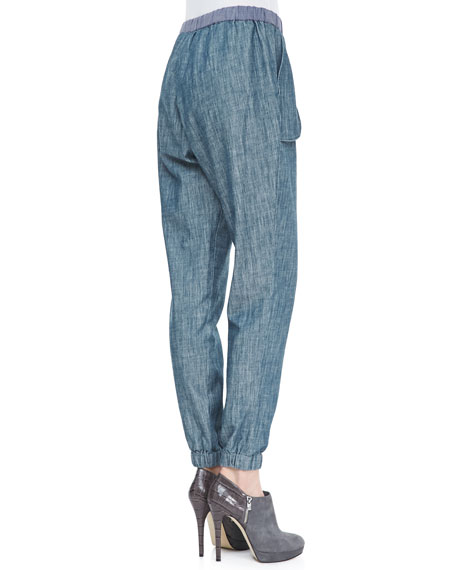 Washed Chambray Track Pants