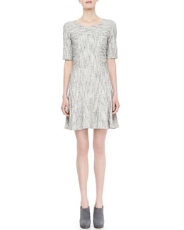 10 Crosby Derek Lam Textured Fit-and-Flare Dress