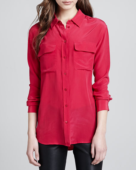 Signature Silk Pocket Blouse, Red