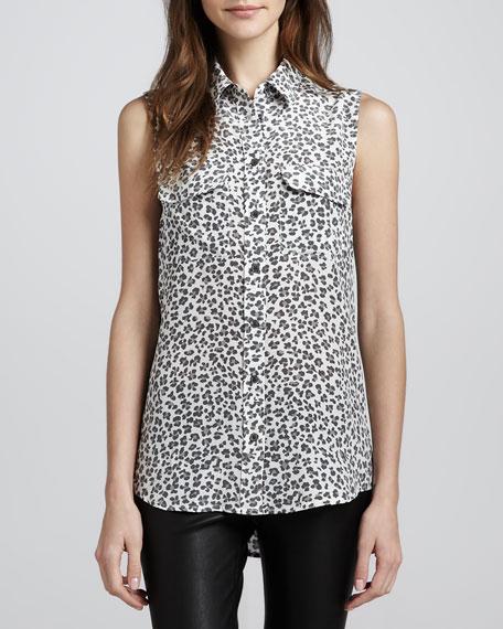 Signature Leopard-Print Sleeveless Blouse