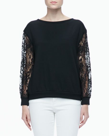 Brody Lace-Sleeve Sweatshirt