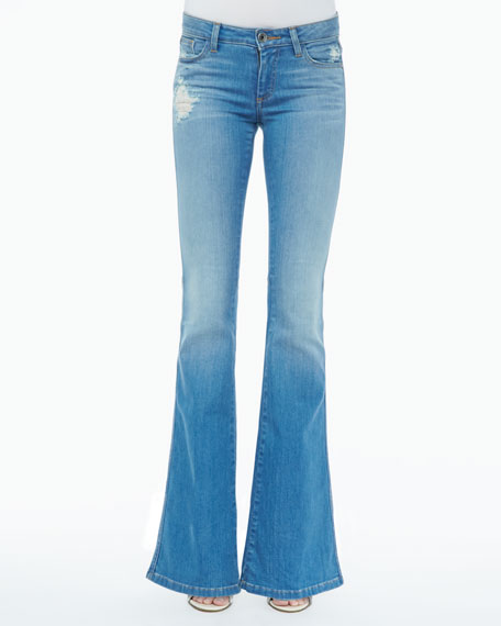 Stacy Distressed Bell-Bottom Jeans