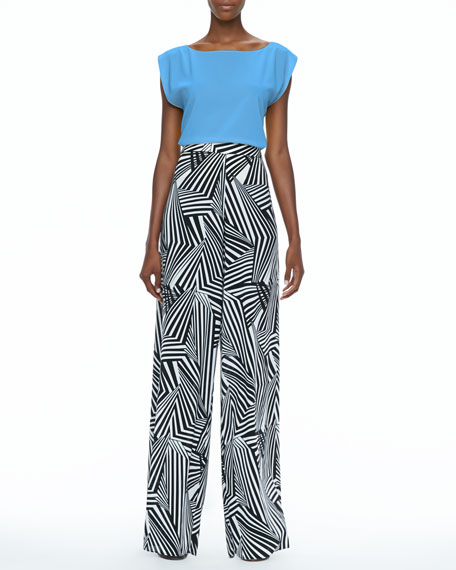 Geometric-Print Super-Flare Pants