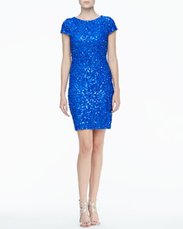 Alice + Olivia Taryn Sequined Fitted Dress