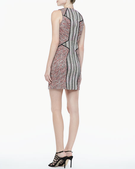 Moulin Mixed-Pattern Tweed Dress