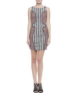 Rebecca Minkoff Moulin Mixed-Pattern Tweed Dress