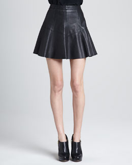 Rebecca Minkoff Ibiza A-Line Leather Skirt