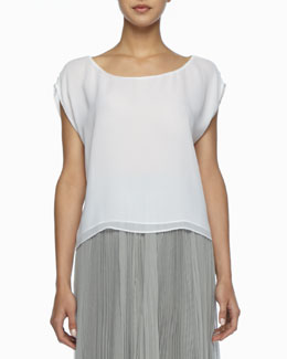 Alice + Olivia Layered Boxy Silk Tee