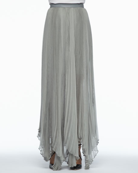 Ava Leather-Waist Pleated Maxi Skirt