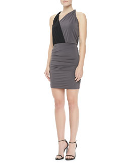 Halston Heritage Asymmetric Twisted Draped Dress