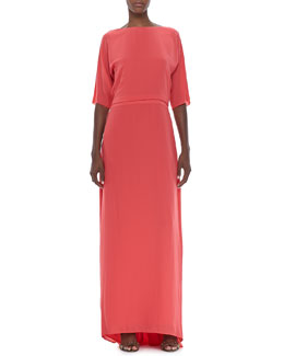 Halston Heritage Elbow Sleeve Boat Neck Gown