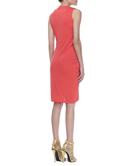 Sleeveless Ruched Drape Dress