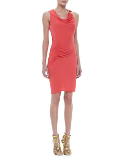 Halston Heritage Sleeveless Ruched Drape Dress