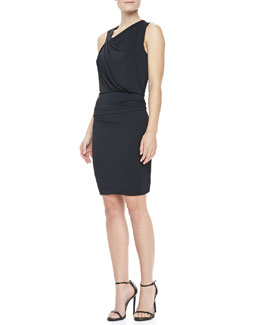 Halston Heritage Draped Asymmetric Jersey Dress