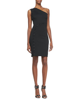 Halston Heritage One Shoulder Lace-up Dress