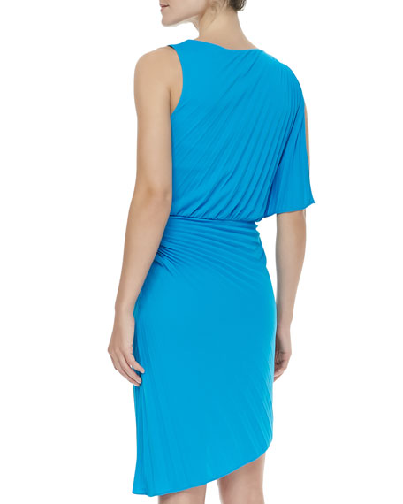 Pleated Asymmetric Crepe Dress