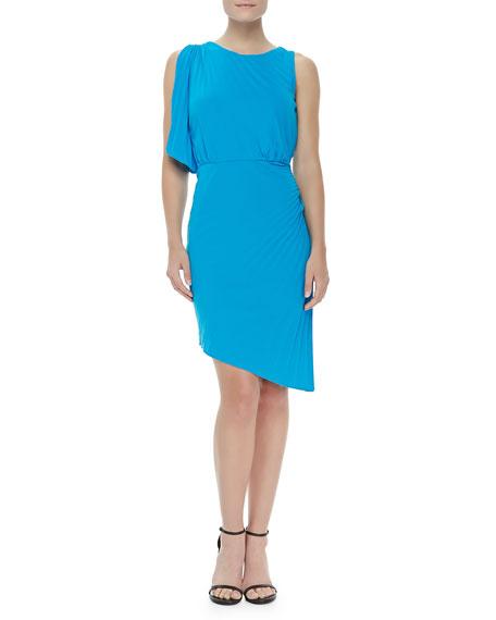 Pleated Asymmetric Crepe Dress