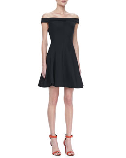 Halston Heritage Off-The-Shoulder Ponte Dress, Black