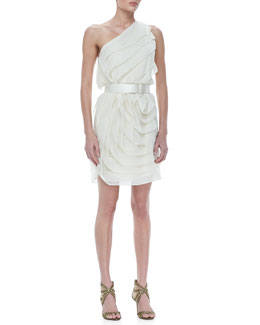 Halston Heritage One Shoulder Tier Ruffle Dress