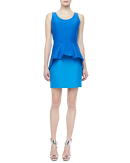 Halston Heritage Short Sleeve Colorblock Peplum Dress