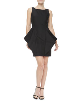 Halston Heritage Pleat-Side Sateen Dress