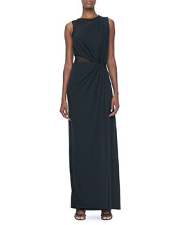 Halston Heritage Sleeveless Sheer Contrast Ruched Gown