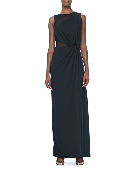 Sleeveless Sheer Contrast Ruched Gown
