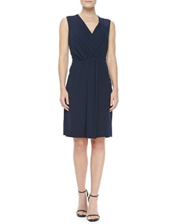 Halston Heritage V-Neck Faux-Wrap Dress