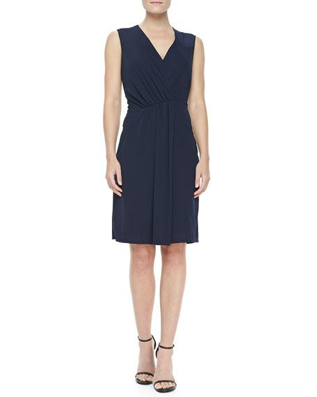 V-Neck Faux-Wrap Dress