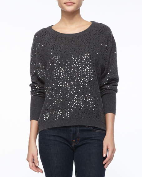Sequined Cashmere Pullover Sweater