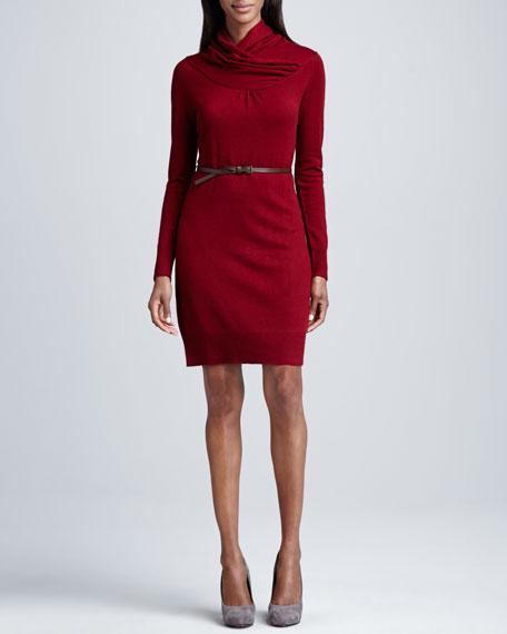Overlap-Collar Cashmere Belted Dress