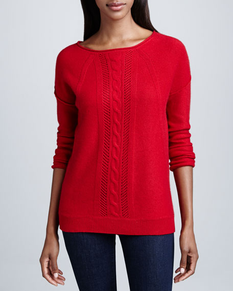 Cable Knit & Pointelle Cashmere Top