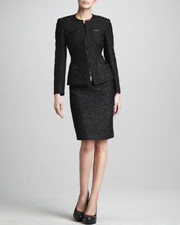 Albert Nipon Metallic Tweed Suit
