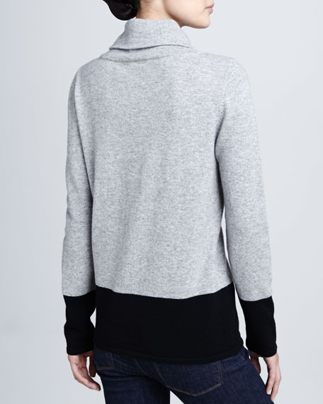 Colorblock Cashmere Long-Sleeve Turtleneck