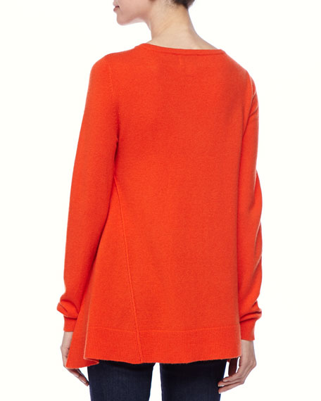 Exposed Seam Hi-Low Cashmere Tunic