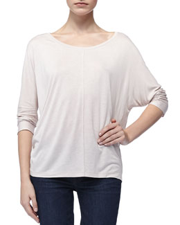Vince Long-Sleeve Jersey Tee, Pale Rose