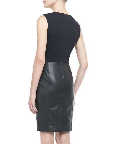 Leather/Crepe Combo Dress