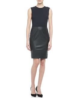Vince Leather/Crepe Combo Dress